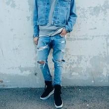 Мужчины мода Джастин Бибер Джинсы ЗПП Страх божий Раздавить Колено отверстие Хип-Хоп Kanye West Long байкер жан Синие Джинсы ноги Cooo Coll