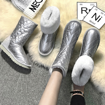 Women Snow Boots Genuine Leather Fur Shoes Platform Sliver Winter Boots Woman Warm Plush Female Casual Shoes Slip On Plus SizeDE