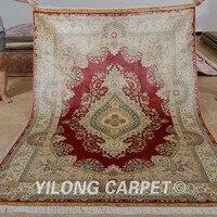 Yilong 5.5 'x8' El düğümlü türk halı kilim kırmızı el yapımı ipek nain satılık (1116)