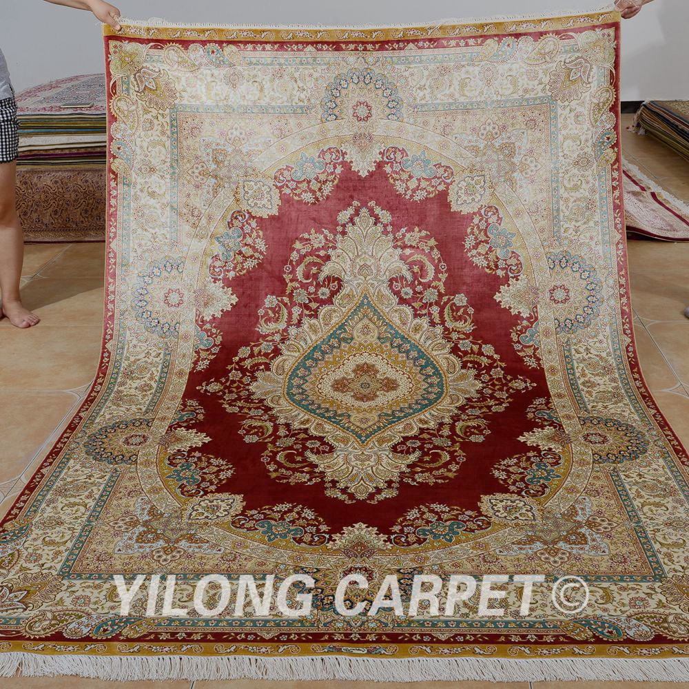 Yilong 5 5 X8 Hand Knotted Turkish Carpet Red Handmade