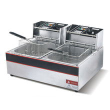 Electric fryer double tanks frying oven_stainless steel deep fryer 6liters*2  220v