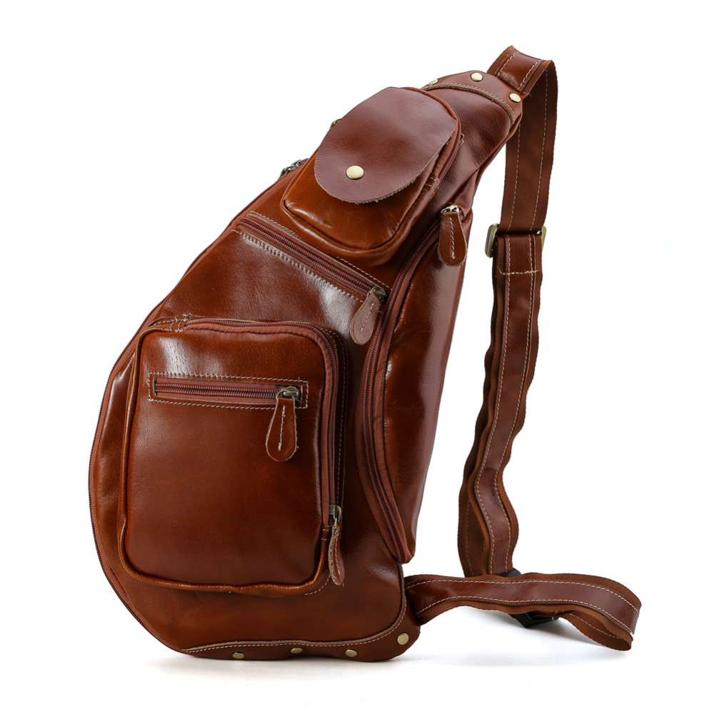 TIDING genuine leather chest bag for men crossbody sling backpacks for iPad air tablet bag with detachable pouch 3181 casual canvas satchel men sling bag