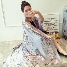 100% Natural Silk Scarf Women Luxury Brand Digital Print Flowers Silk Pashmina Shawl Female Long Bandana Foulard 2020 Oversize