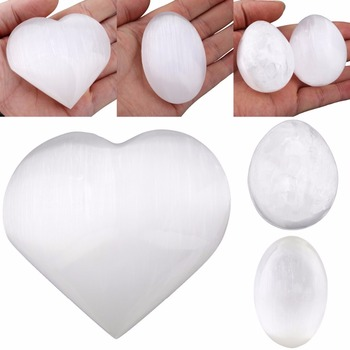TUMBEELLUWA Natural selenita corazón amor/Oval/huevo esfera de cristal curación Chakra Palma espécimen de piedra