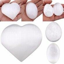 TUMBEELLUWA Selenite ธรรมชาติหัวใจรัก/รูปไข่/ไข่ทรงกลมคริสตัล Healing Chakra ปาล์มหินตัวอย่าง