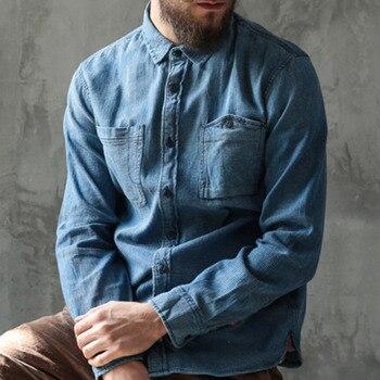 b7f70e985d Estilo británico de manga larga Casual Camisa sólida Slim Fit Washed Denim  Camisas Hombre Chemise Homme