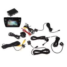 12 В 4 Датчики Парковки Видео Автомобилей Обратный Резервного Радиолокационные Системы Kit Работы с Автомобиля DVD Монитор