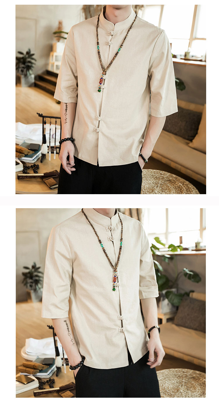 Chinese style summer fashion man's Pure color linen Short sleeve shirt high-grade male comfortable slim fit leisure shirt M-5XL 46