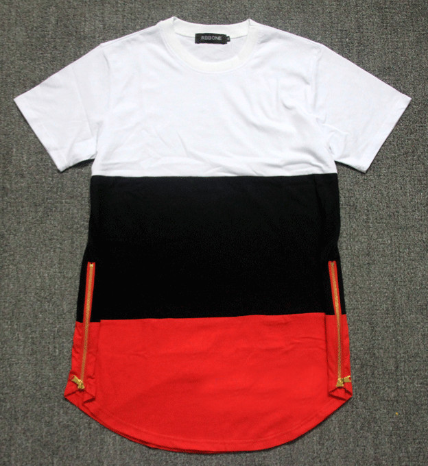 summer style mens t shirts white black red patchwork golden side ...