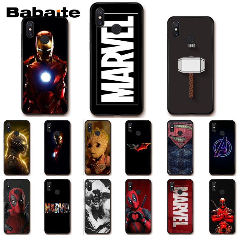 Babaite Deadpool Iron Man <font><b>Marvel</b></font> Avengers Phone <font><b>Case</b></font> for <font><b>Xiaomi</b></font> MiA1 A2 lite F1 <font><b>Redmi</b></font> 6A 4X 5Plus S2 Note7 <font><b>Redmi</b></font> Note4 image