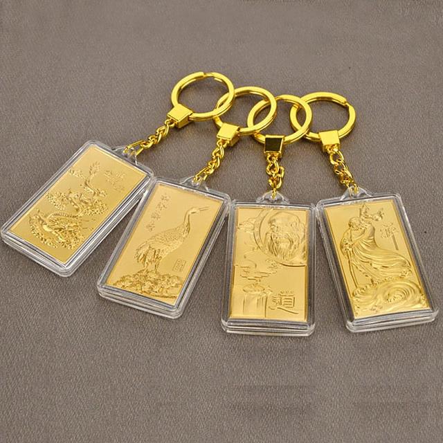 Asklove 3D זהב מפתח אבזם 24K זהב לסכל המפלגה מתנות יוקרה מחזיקי מפתחות לשלוח חברים עמיתים מתנות קישוט מזל תליון