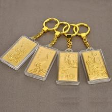 Asklove 3D altın anahtar toka 24K altın folyo parti hediyeler lüks anahtarlıklar arkadaşlar göndermek meslektaşları hediyeler dekorasyon şanslı kolye