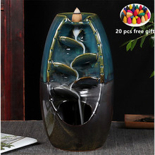 4 color mountain stream river incense holder ceramic burner smoke waterfall