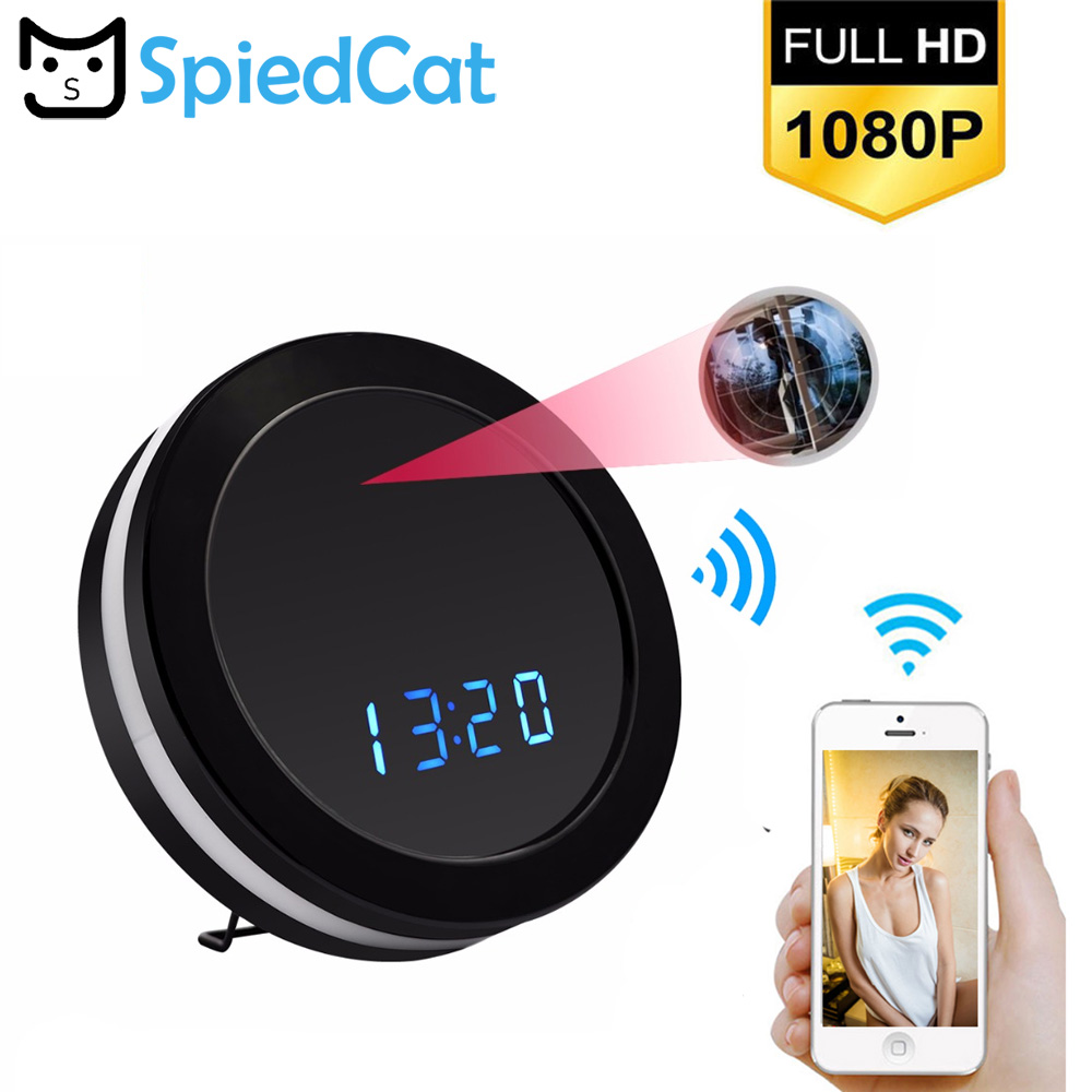 1080P Table Clock IP Camera Electronic WIFI Camera P2P TV Baby Night Vision Monitor Home Security Monitoring Secret Cam Espion-in Mini Camcorders from Consumer Electronics    1