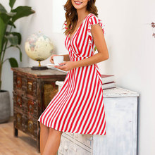 Red vacation Boho beach sexy cotton dress V-neck striped high waist flying sleeves Slim A-line casual summer vintage