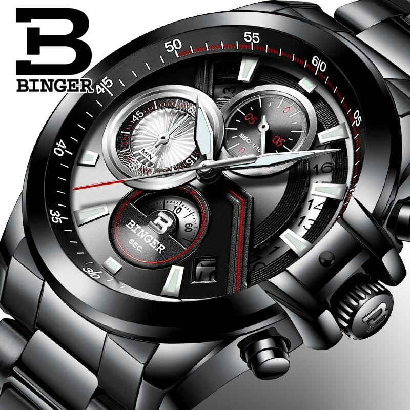 Для мужчин часы Роскошные Лидирующий бренд Бингер большой циферблат Дизайнер хронограф Водонепроницаемый полный Нержавеющаясталь кварц ...