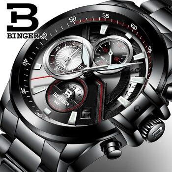 남자 시계 럭셔리 브랜드 binger 빅 다이얼 디자이너 크로노 그래프 방수 전체 스테인레스 스틸 쿼츠 남성 시계 B-9016-4