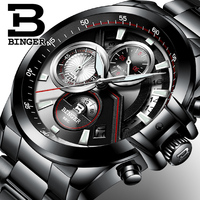 Men's watches Luxury Top Brand BINGER Big Dial Designer Chronograph Waterproof Full Stainless Steel Quartz Male Clock B 9016 4