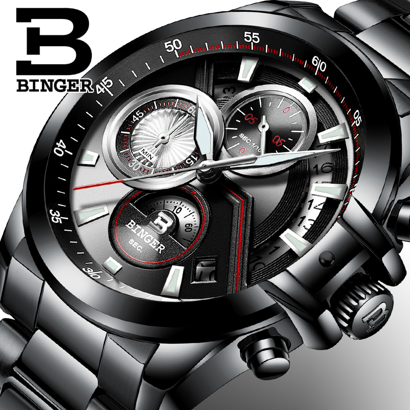 Prix pour 2017 hommes de montres de luxe top marque binger grand designer dial chronographe résistant à l'eau inoxydable quartz horloge b-9016-4