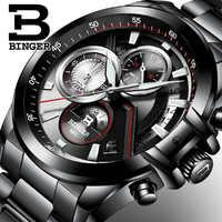 นาฬิกาผู้ชายหรูหราแบรนด์ BINGER นาฬิกาข้อมือ Chronograph สแตนเลสสตีลควอตซ์นาฬิกาผู้ชาย B-9016-4