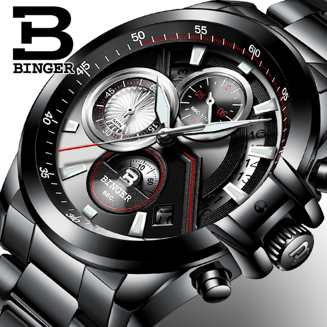 Men's watches Luxury Top Brand BINGER Big Dial Designer Chronograph Waterproof Full Stainless Steel Quartz Male Clock B-9016-4