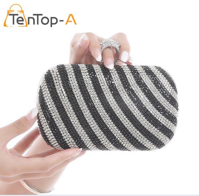 TenTop-Un Dedo Brillante Diamante Bolso de Noche Noble de Las Mujeres de Calidad
