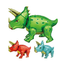 1PC NEW 4D Large Stand Standing Assembled Triceratops Foil Balloons Dinosaur Party Decoration Globos Safari Decor Supplies