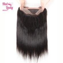 Halo Lady Beauty 360 Kant Frontale Sluiting Braziliaanse 100% Menselijk Haar Vetersluiting Non Remy Haar Recht Met Baby hair Gratis Deel