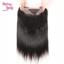 Halo pani urody 360 koronka Frontal zamknięcie brazylijski 100% ludzkie uzupełnienie splotu włosów Lace Closure nie Remy włosy prosto z dzieckiem włosy wolna część