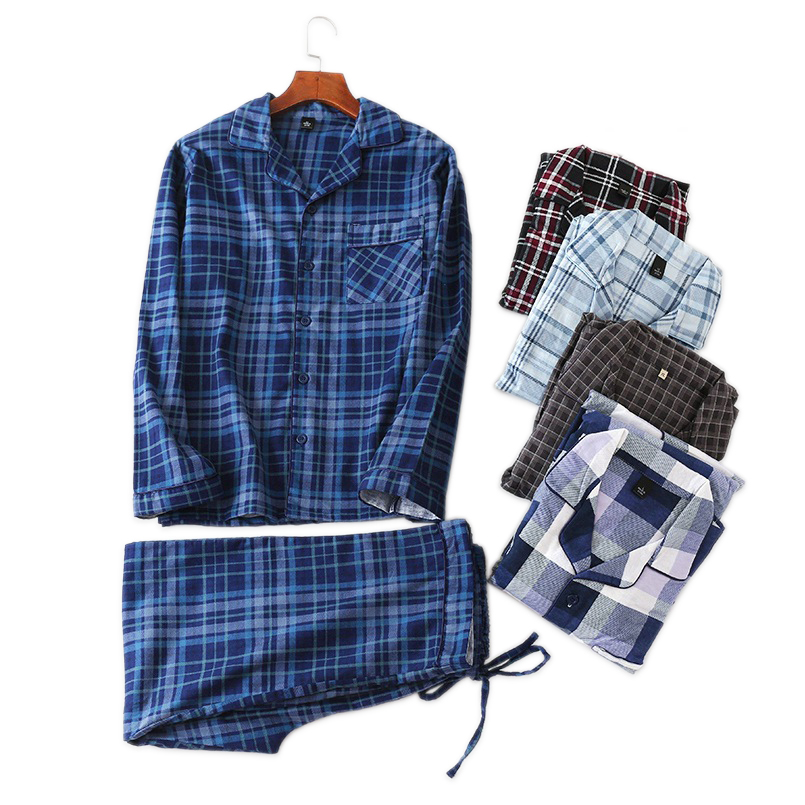 Spring New Male 100% Brushed Cotton Pajama Sets Casual Fashion Plaid Plus Size Pyjamas Men Sleepwear Pijamas Sexi Hombres Homme