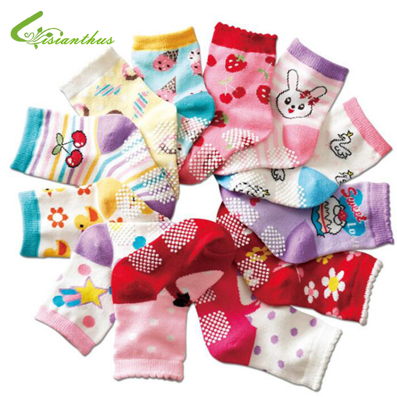 Free Shipping (10 Pairs/lot) Cotton Baby Socks Rubber Slip-resistant Floor Socks Cartoon Girl And Boy Kid's Cotton Socks 1-3year