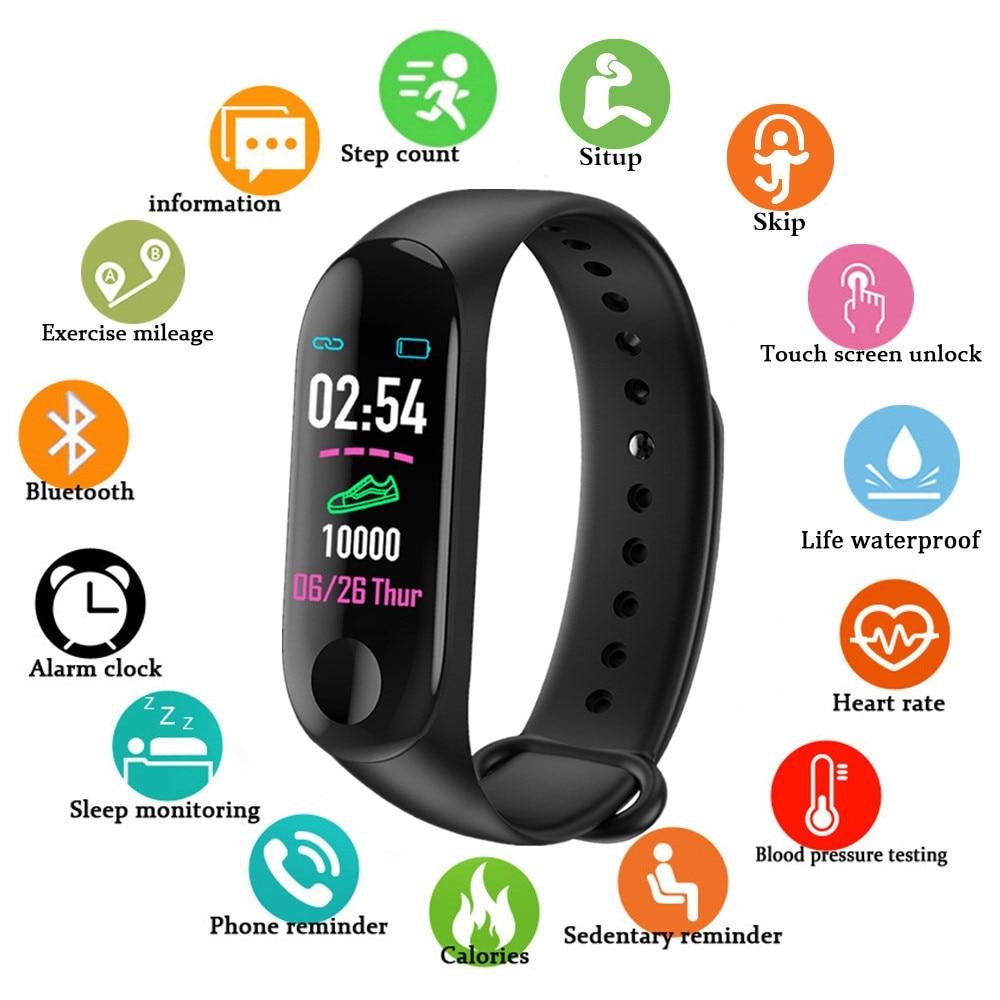 Sport Smart Band Armband M3 Blutdruck Monitor Wasserdichte Intelligente Armbänder Smartband fitness Tracker uhr PK mi band 3 4