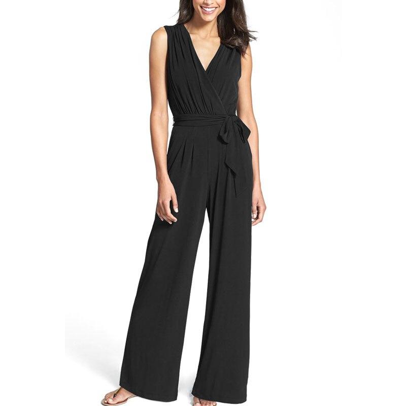 Hot Wide Leg High Waist Elegant Jumpsuits V-neck Sleeveless Overalls Jumpsuits For Women  LB