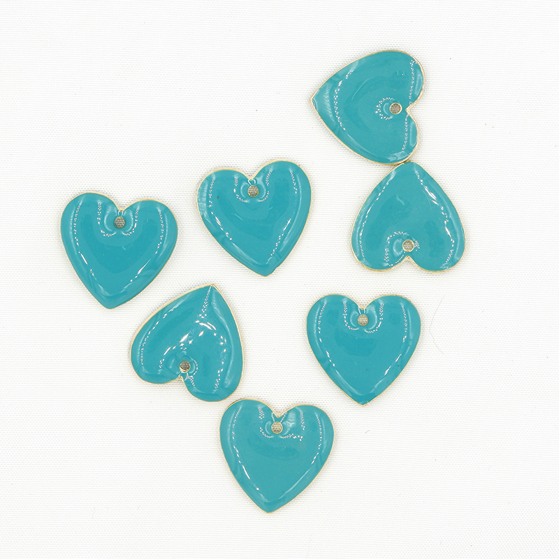 Double sided Enamel heart charms DIY jewelry making earring necklace Bracelet finding handmade Accessories Components Material in Charms from Jewelry Accessories