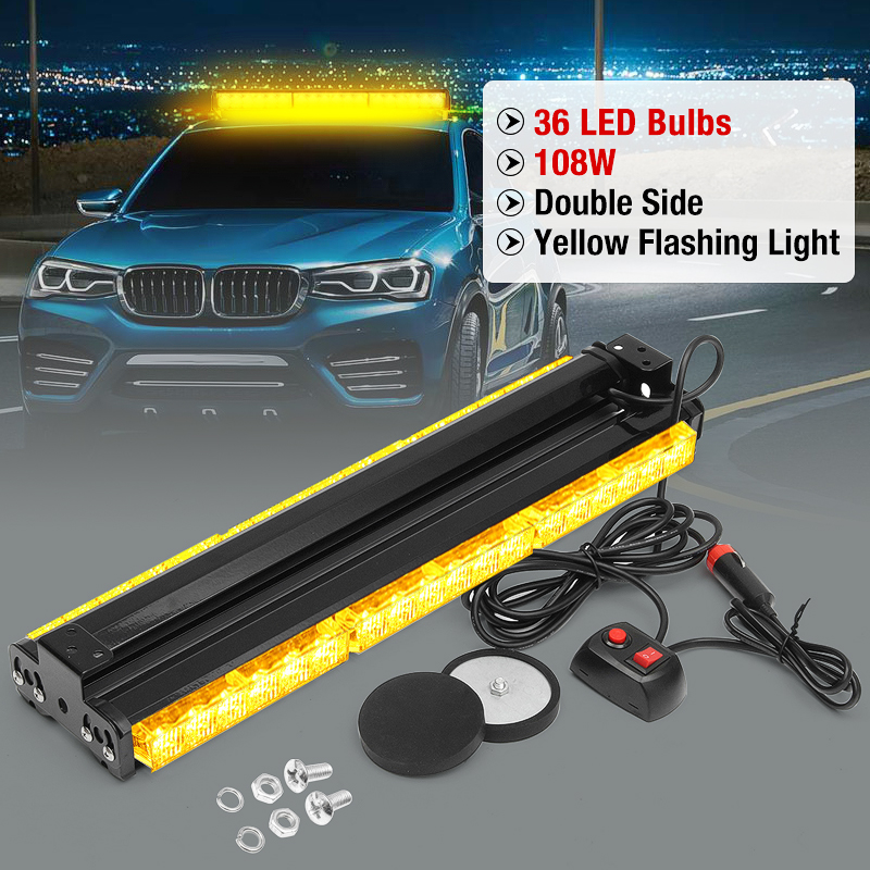 12V 108W 36LED Car Roof Strobe Emergency Lamp Warning Lamp For Truck Signal Flash Light Polices LED Bar Car Light Assembly car front emergency strobe light bar 8 led dash flash warning lamp traffic light roadway safety lamp
