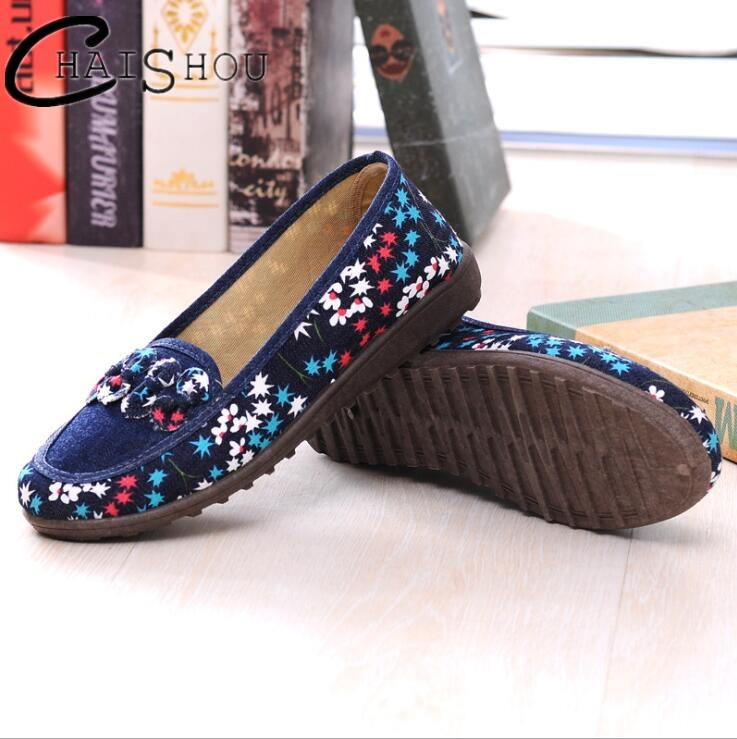 Spring summer women flat cloth shoes women Soft bottom Non-slip Middle-aged shoes shallow embroidered Casual mother shoes U313 cresfimix zapatos women cute flat shoes lady spring and summer pu leather flats female casual soft comfortable slip on shoes