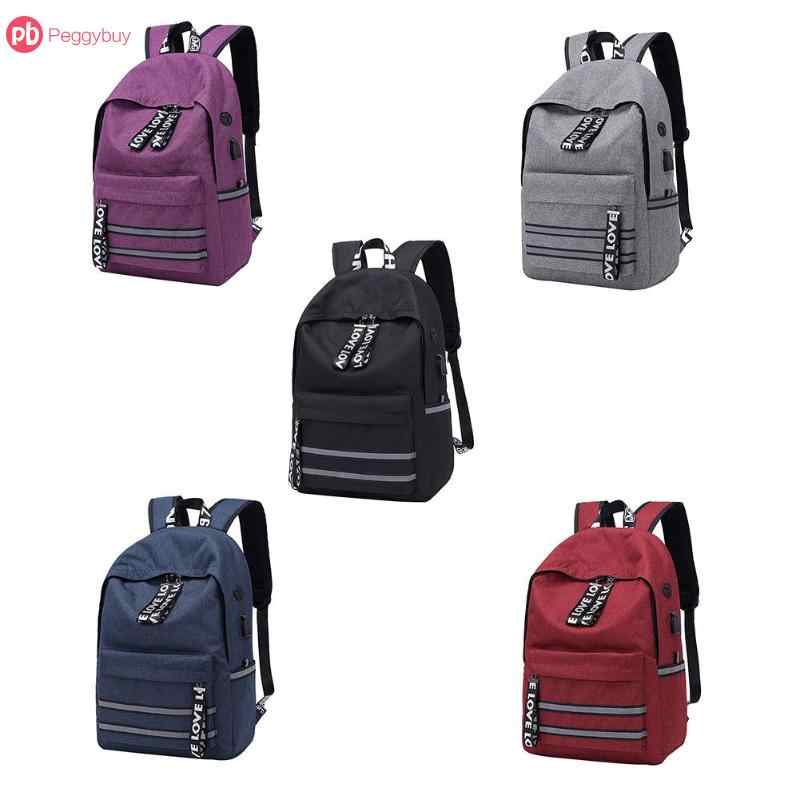 fcfb53688e28 ... Модная разноцветная-Цвета унисекс для мальчиков и девочек холст зарядка  через usb Рюкзак Школьные сумки ...