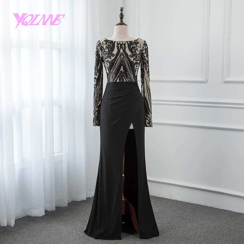 YQLNNE 2018 Black Mermaid   Prom     Dresses   Long Sleeve Knitting Split Evening Party   Dress   with Top Sequins