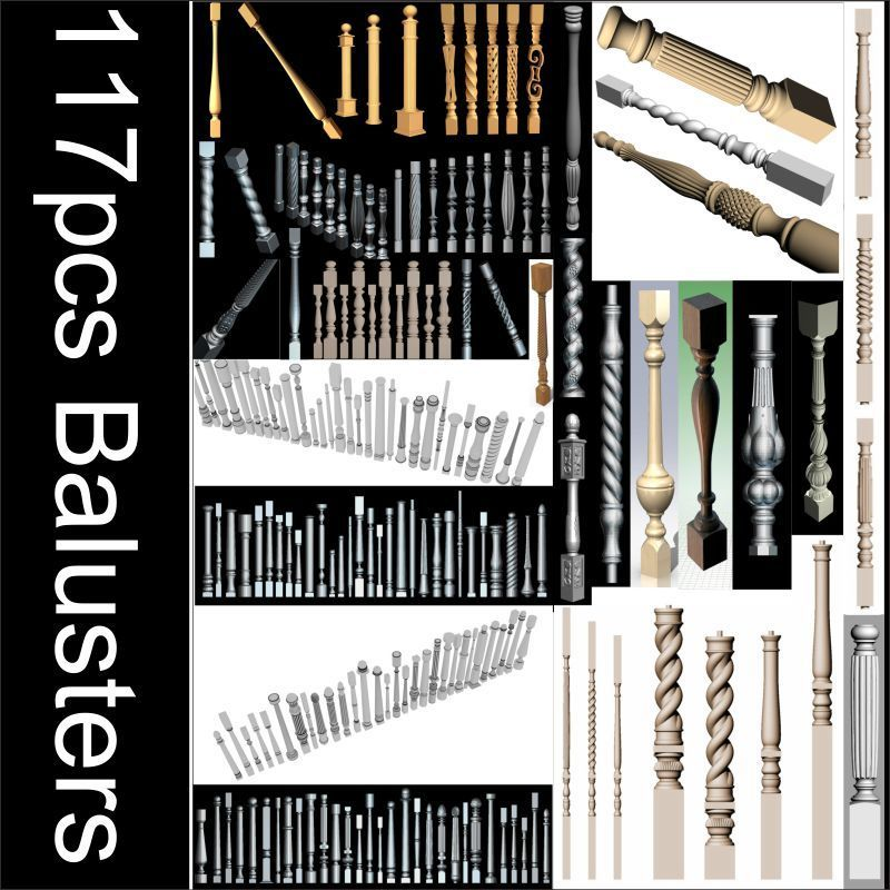 117pcs Balusters 3d Model STL Relief For Cnc STL Format Balusters Relief Model STL Router  Engraver ArtCam