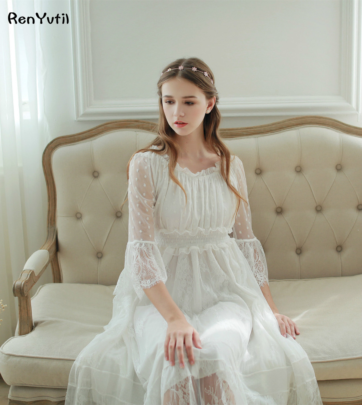 RenYvtil Lace Embroidered Home Woman Spring Gauze Mesh Pyjamas Royal Victorian Long Nightgown Princess Sleepwear Nightdress