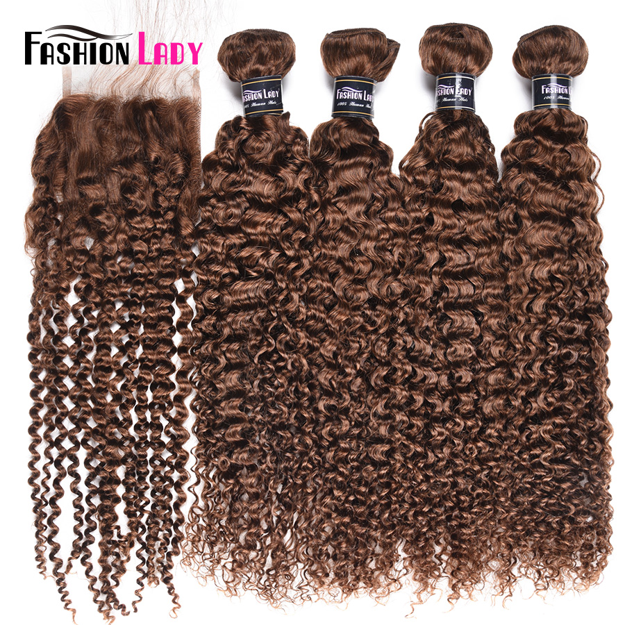 Fashion Lady Pre-Colored Brazilian Hair Curly Weave With Closure 4# Medium Brown Human Hair 4 Bundles With Closure Non-Remy
