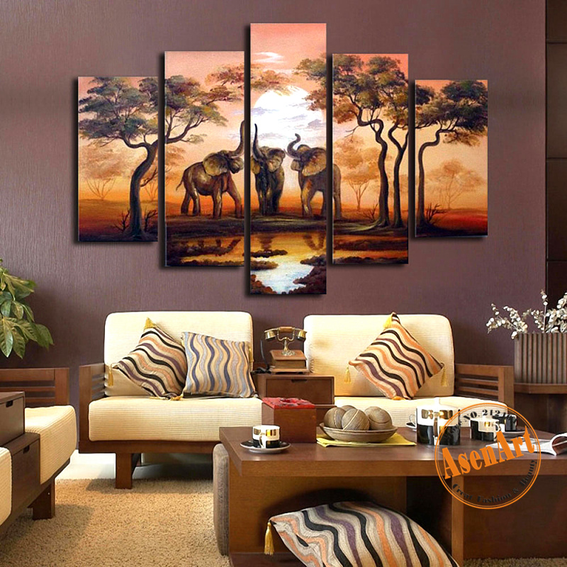 Handpainted 5pcs Set African Elephant Painting Sunset Landscape Canvas Painting Multi Panel Wall Decor Home Decoration