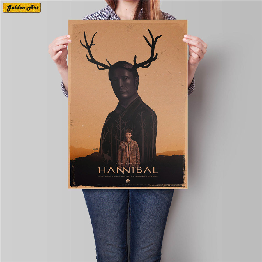 Bar Cafe Decoration Hannibal Movie Poster Vintage Kraft Paper Poster Print Picture Wall Sticker Room Painting 45.5x31.5cm