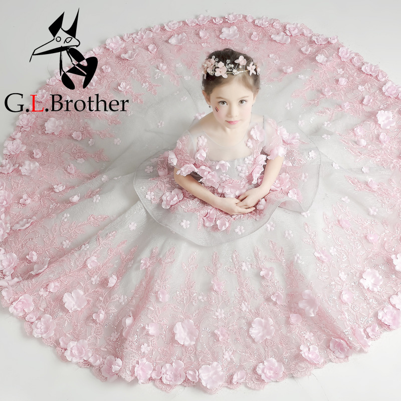 Flower Girl Tutu Dress Birthday Party Wedding Princess Girls Dresses Floral Clothes Children Clothing Kids Girl Long Dress LJ193 girls party dresses elegant 2017 summer short sleeve flower long tail princess girl dress children kids wedding birthday dresses page 5