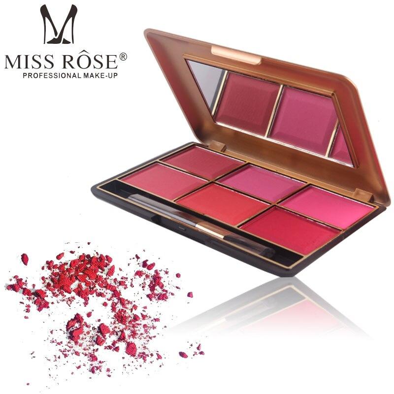 Miss Rose Brand Mineral 6 Color Blush Makeup Palette Face Cheek Powder Dreamlike Velvet Shimmer Matte Blusher Cosmetics