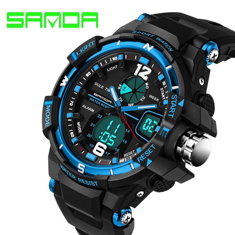 Sports cool men's quartz and digital watches SANDA luxury brand LED military waterproof watch sports watch relogio masculino