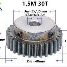 1.5M 30T 1.5 mod gear rack 30teeth Tooth quenching Spur Gear pinion bore 10/12/17/20mm spur gear precision 45 steel cnc pinion