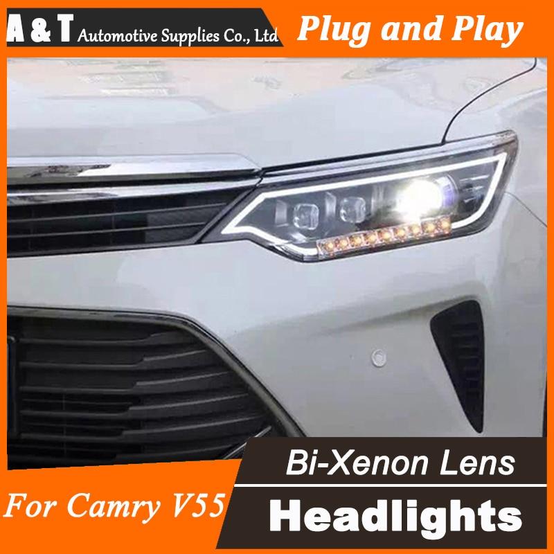 цена на Car Styling for 2014-2015 Toyota Camry V55 LED Headlight New Camry Headlights drl Lens Double Beam H7 HID Xenon