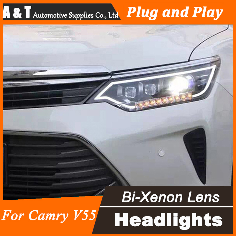 Car Styling for 2014-2015 Toyota Camry V55 LED Headlight for Camry Headlights drl Lens Double Beam H7 HID Xenon hireno headlamp for 2011 2015 toyota fortuner headlight assembly led drl angel lens double beam hid xenon 2pcs