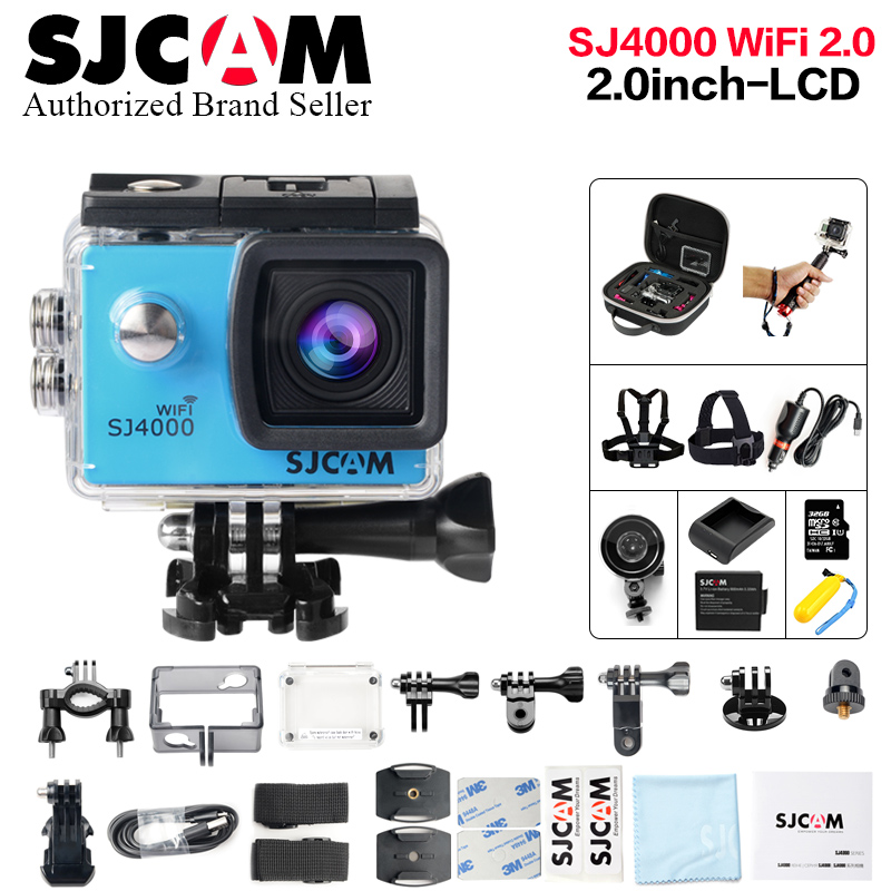 лучшая цена Original SJCAM SJ4000 WIFI 2.0 LCD action camera full hd 1080p waterproof Sport Camera Diving 30M Waterproof beter gopro camera